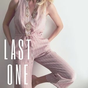 Striped Linen Jumpsuit in Rose anthropologie S